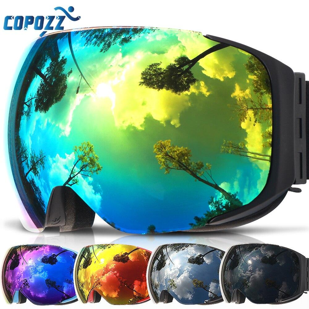 COPOZZ marca óculos de esqui lentes substituível magnético UV400 anti-fog máscara de esqui das mulheres dos homens de esqui neve snowboard goggles GOG-2181