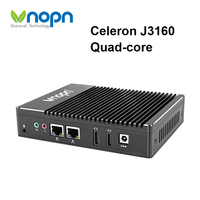 Vnopn Fanless Mini PC Windows 10 Intel Celeron J3160 Inside 2 RJ45 Dual LAN Ports 2 HD MI Ports WiFi Industrial Computer Nettop