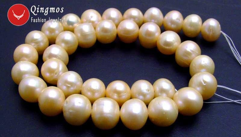 Qingmos 12 13mm perlas blancas cuentas sueltas para hacer joyas con perlas de agua dulce redondas naturales hebras 14 los45 envío gratis - 2