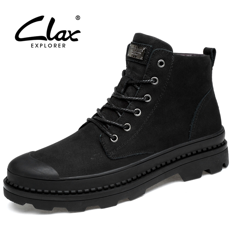 CLAX Men High Boots Autumn Casual Leather Shoe Male Genuine Leather Martin Boot Winter Boot Fur Snow Shoe Warm Work Shoe clax mens boot spring autumn ankle boot genuine leather male casual leather shoe winter boots men snow shoes fur warm plus size