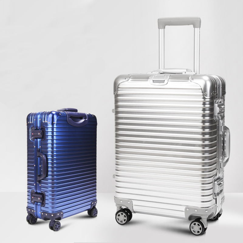 20'' 24'' Luxury Spinner 100% Aluminum Magnesium Alloy Trolley Suitcase Fashion Men Large Metal Travel Luggage Rolling Bag Women y road travel trolley luggage suitcase 100