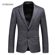 2017 new spring and autumn style men boutique blazers high quality business casual slim plaid men suit jacket large size S-3XL