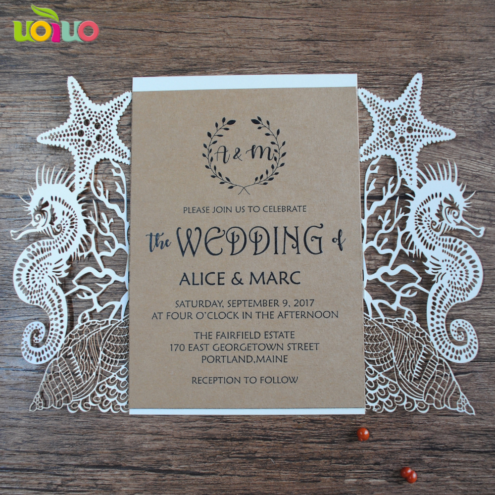 Wedding Invitation Decorations Gallery Decoration Ideas Aliexpress Beach Cards Seahorse And