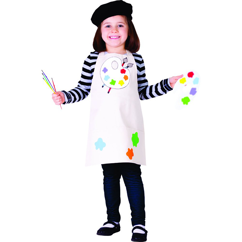 Child Little Girls Talented Artist Professional Clothing Painter Fancy-Dress Halloween Cosplay Carnival Costume