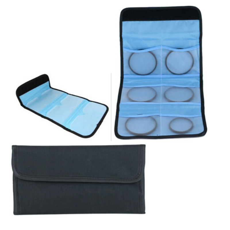 18e87ab2c8459 10 sztuk 6 Kieszeni camera Lens Filter Case Portfel 25mm do 82mm UV CPL  filtr Filtry protect pouch bag dla cokin P series protector