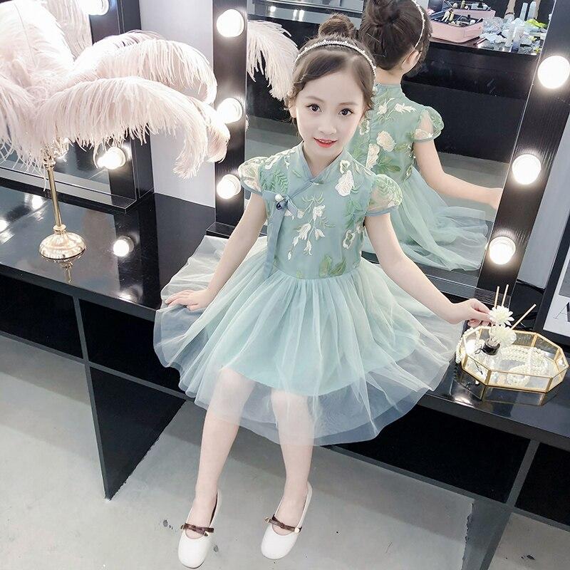 Принцессы для девочек Cheongsam платья 2019 летняя детская Повседневная одежда кружевное платье для девочек вышитая юбка для девочек вечерние пр...