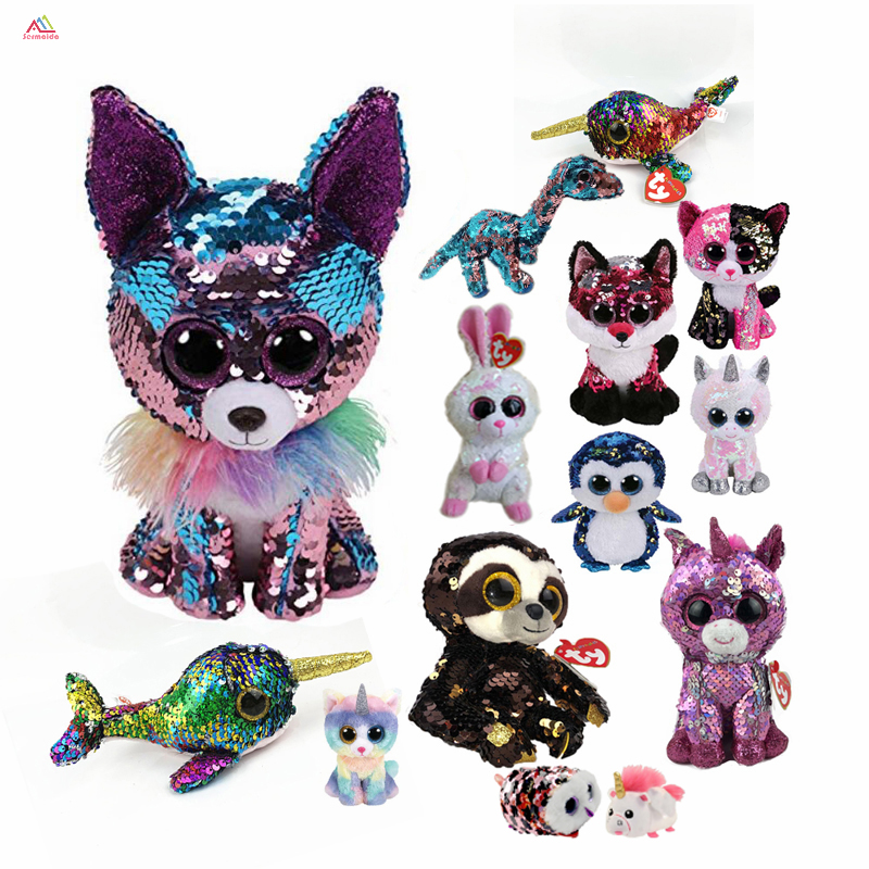 "Ty Beanie Boos 6"" 15cm sequin Chihuahua Fox Sloth Cat Bear Wolf Owl Plush Regular Big-eyed Stuffed Animal Collection Doll Toy"