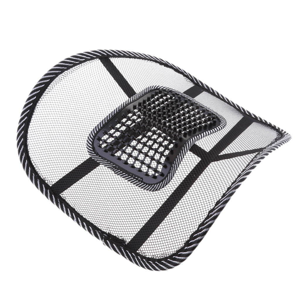 1 Pc Cool Mesh Back Lumbar Support Vent Cushion Car Office Chair Truck Seat Black
