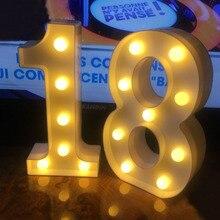 Chicinlife 2 adet 18/30/40 numaraları LED dize gece lambası doğum günü partisi ayakta asılı yetişkin parti yıldönümü dekor malzemeleri