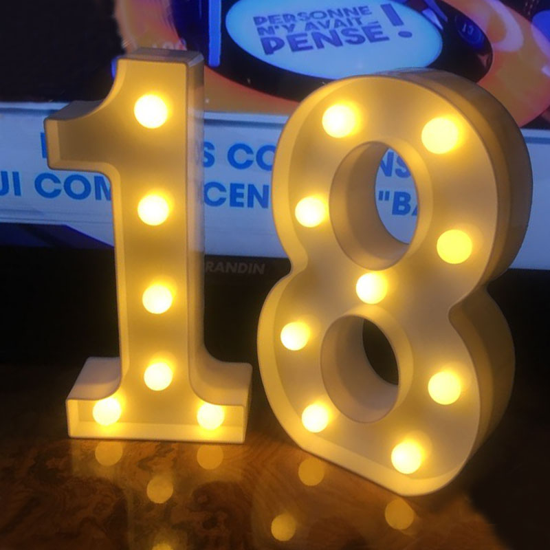 Chicinlife 2Pcs 18/30/40 Numbers LED String Night Light Birthday Party Standing Hanging Adult Party Anniversary Decor SuppliesParty DIY Decorations   -