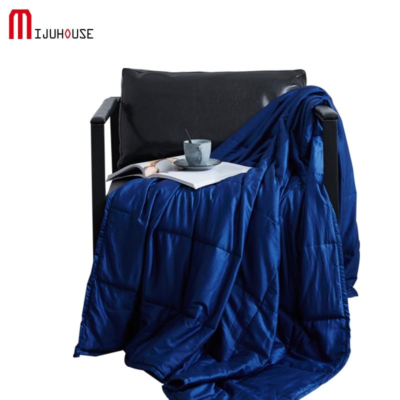 100% Coton Pondérée Couverture Solide couleur Pondérée Couverture Maison Américaine Décompression Couette Soulager Catigue et Améliorer le Sommeil