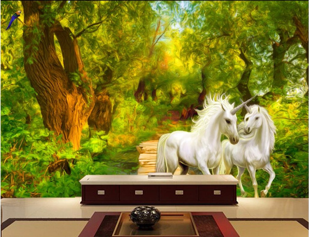 Custom mural 3d photo wallpaper jungle unicorn home decor painting picture 3d wall murals wallpaper for living room walls 3 d custom photo 3d wall murals wallpaper mountain waterfalls water decor painting picture wallpapers for walls 3 d living room