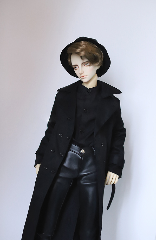 BJD coat Double-breasted black trench coat with <font><b>belt</b></font> suitable for 1/3 1/4 BJD SD17 SSDF doll accessories doll coat image