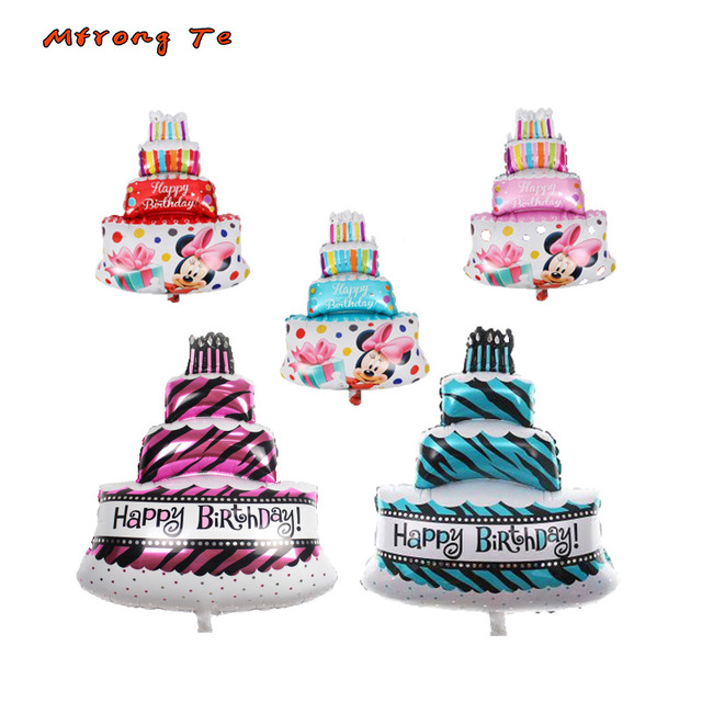 1 4pcs Birthday Cake Foil Balloons 10069cm 3040cm Mickey Minnie