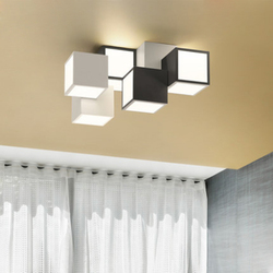 Nowoczesny prosty kwadrat geometryczny projekt pudełka lampa sufitowa nordycki kreatywny czarna farba żelaza akrylowa dekoracja sypialni led z możliwością przyciemniania światła