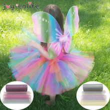 10Yard 6inch Rainbow Glitter Tulle Roll Sequin Crystal Organza Sheer Fabric DIY Craft Tutu Skirt Home Wedding Decoration(China)