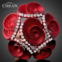 Chran Promoción Chapado En Oro Cristal de Diamante de Imitación Señoras Flor de Rose Grandes Anillos Para Las Mujeres Joyería de La Vendimia Mejores Regalos