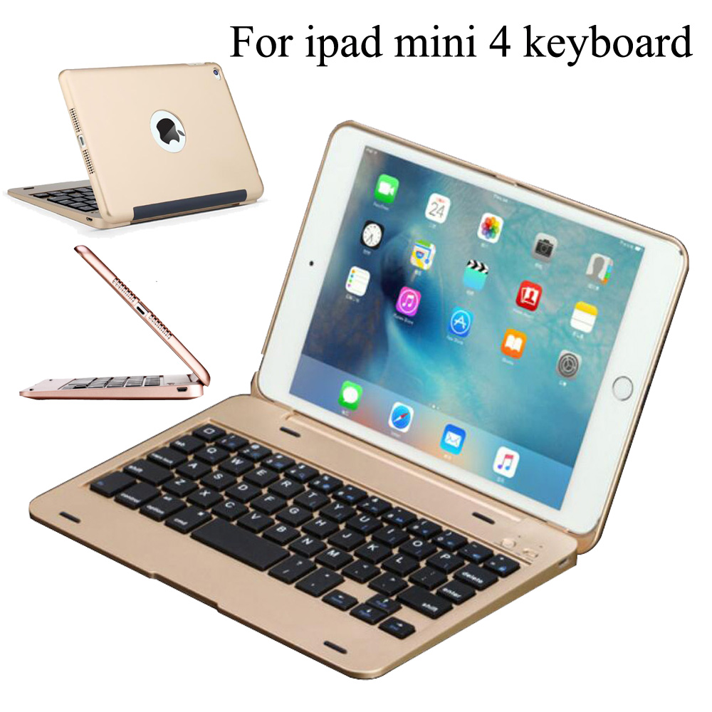 Wireless Bluetooth Keyboard For iPad Mini 4 Full Body Protective Portable Keyboard Smart Case Auto Sleep/Wake A1538 A1550 for ipad mini 4 backlit wireless 4 0 bluetooth keyboard 7 colors backlight ultra slim aluminum abs material a1538 a1550
