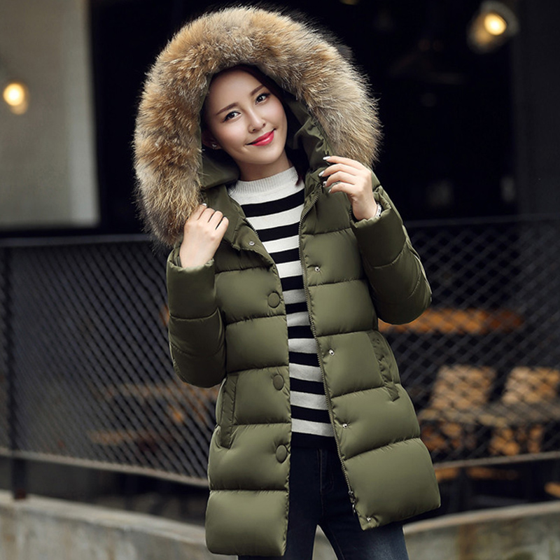 ФОТО Large Real Raccoon Fur Collar 2016 Wadded Jacket Female New Women's Winter Jacket Down Cotton Jacket Slim Parkas Ladies Coat