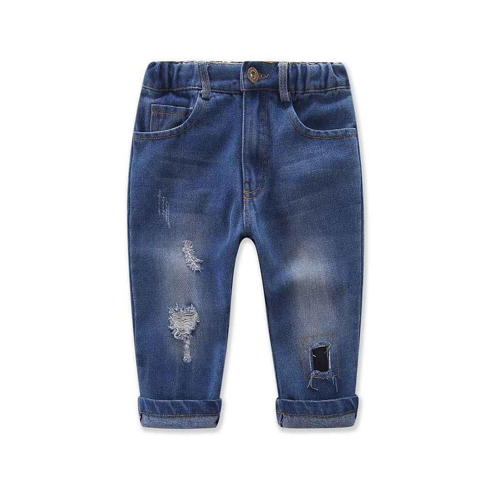 Los niños de moda niñas hombro de Camo Tops + agujero Jeans pantalones ropa trajes de 2 piezas conjunto de 2 -7 T
