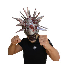 The Walking Dead Mask,Knives Zombie Mask,Halloween Party with Simulation Weapons on Head Latex Helmet simulation mask with elastic strap
