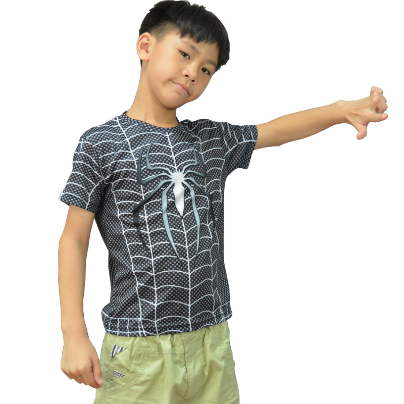 Kids Spiderman Tees Boys & Girls T-shirts Superhero Cartoon Costumes Dry Fit Tops Short Sleeves Sportswear Gym Fitness Avengers(China)