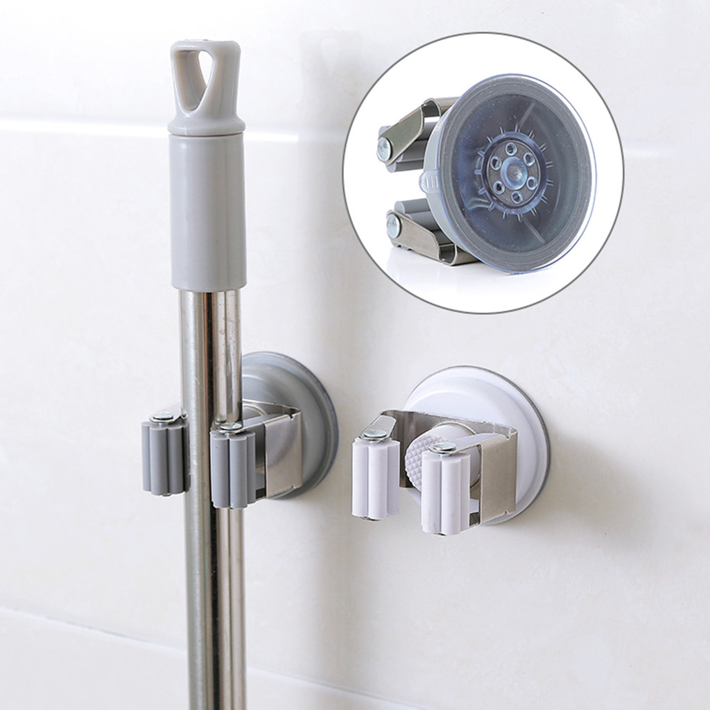 Home Improvement Mop Holder Clip Wall Mounted Vacuum Sucker Broom & Mop Holder Clip For Home Garden Garage Storage Rack Suction Cup Mop Shelf#40