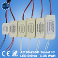 free shipping 1pce 1-3W 4-7W 8-12W 12-18W 18-24W 25-36W Plastic Shell LED light driver transformer power supply adapter for lamp