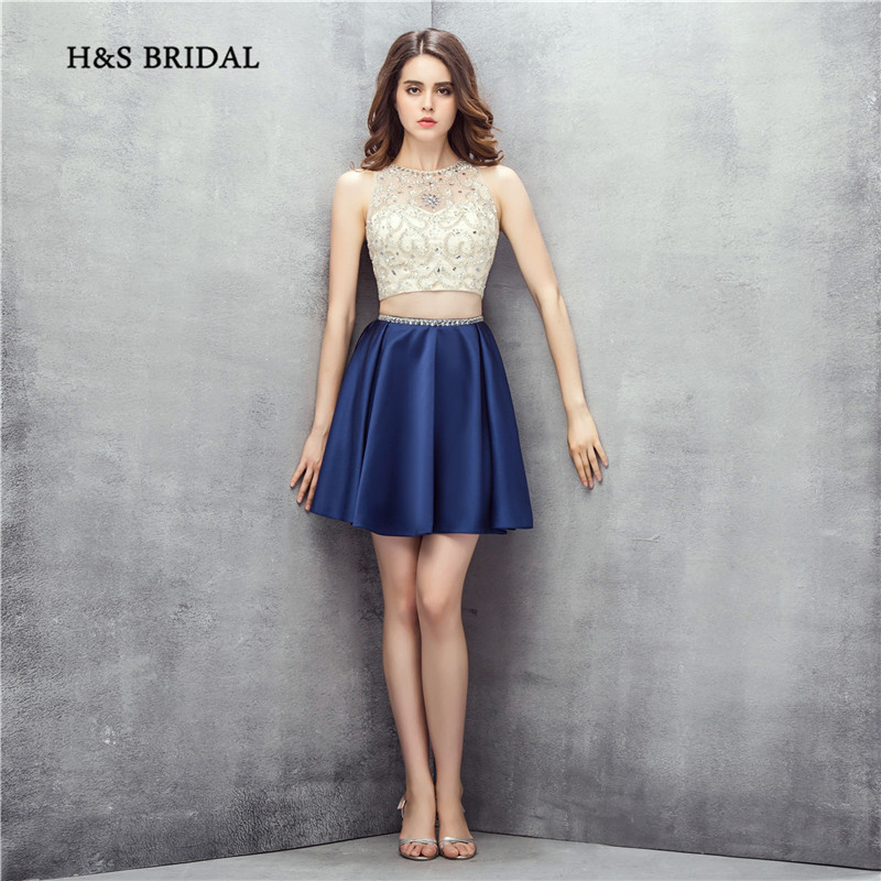 H&S Bridal Navy Two Pieces Cocktail Party Gowns Sequins Beaded Tank Girls Homecoming Dresses 2017