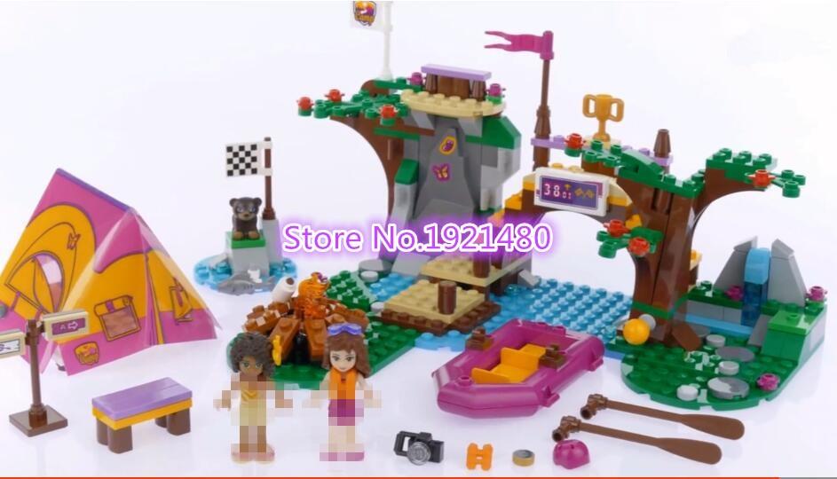 AIBOULLY 325Pcs 10493 Friends Adventure Camp Rafting 41121 mini Building Blocks Set Model Brick Girl Toy