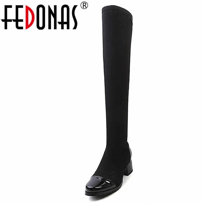 FEDONAS Diz Üzerinde Yüksek Çizmeler Için Kadın Yüksek Topuklu Sıcak Sonbahar Kış Uzun Şövalye Çizmeler Kadın Sıkı Yüksek Streç çizmeler