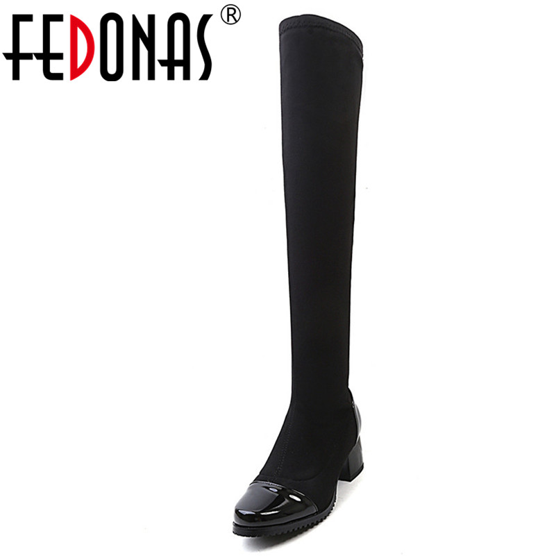 FEDONAS Over The Knee High Boots For Women High Heeled Warm Autumn Winter Long Knight Boots Female Tight High Stretch Boots 2018 boots womens winter over the knee tight high stretch female chunky high heel stocking shoes