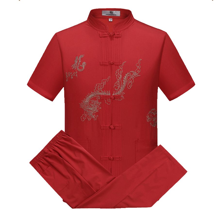 Oriental_element Chinese Style Men's Embroider Dragon Short Sleeve Kung Fu Suits Sets S M L XL XXL 3XL 062803