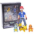 Pocket Monsters Figma 052 Ash Ketchum and Pikachu Charmander Squirtle PVC Action Figure Collectible Model Toy