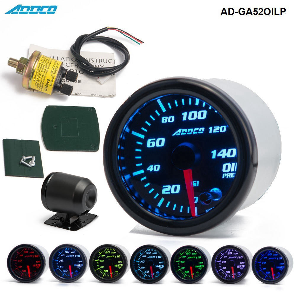 Car Auto 12V 52mm/2 7 Colors Universal Oil Press Gauge Oil Pressure Meter LED With Sensor and Holder AD-GA52OILP cnspeed 252mm 12v car auto oil press gauge 0 7bar oil pressure guage with sensor smoke lens racing white led car pressure meter