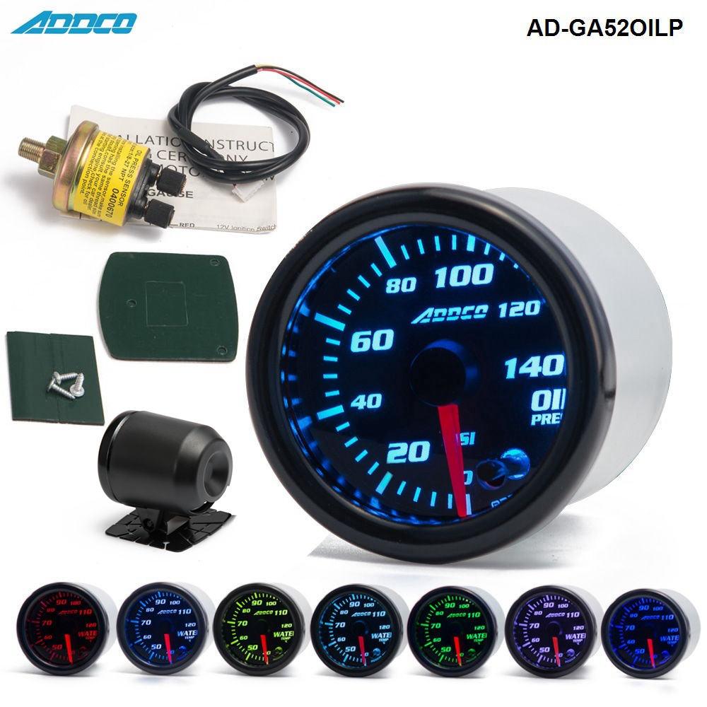 """Voiture Auto 12 V 52mm/2 """"7 couleurs universel jauge de presse à huile compteur de pression d'huile LED avec capteur et support AD-GA52OILP"""