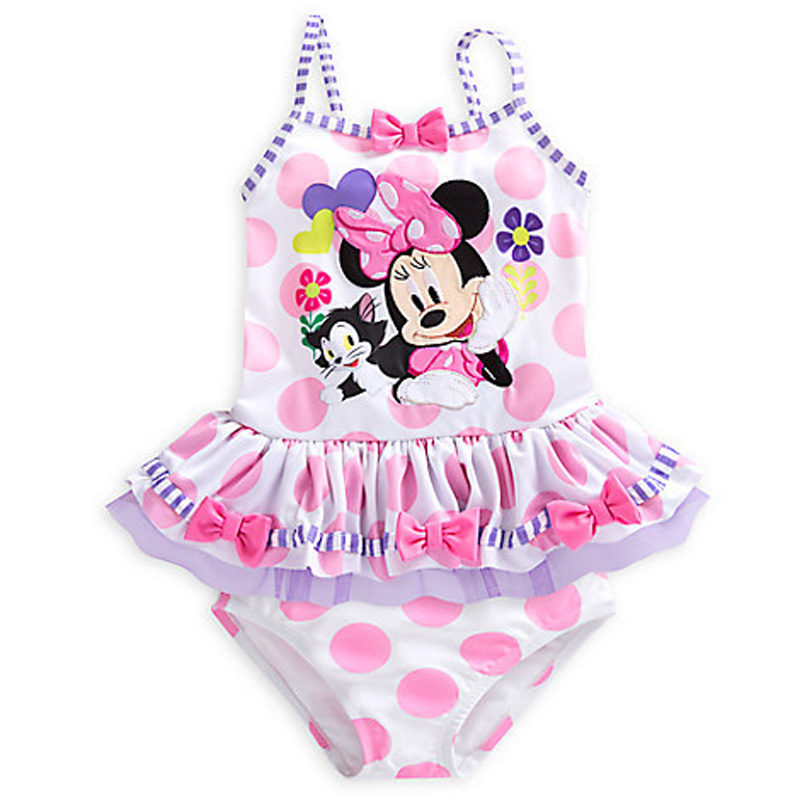 Swimsuit for Girls minnie mouse One-Pieces Swimwear Kids Ruffled Swimming Suit cute Children Bathing Suit free shipping  retail cute girls swimwear ariel one pieces swimsuit kids ruffled swimming suit for girl children bathing suit with cap
