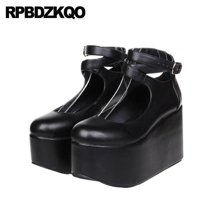 640f3f076 Cross Strap Wedge High Heels Round Toe Platform Size 33 Pumps Harajuku Shoes  13 45 White