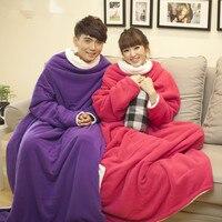 Keep Warm Blanket Easy Wear Blanket 140 170cm XXL Fleece Shawls With Sleeve Office Blanket With