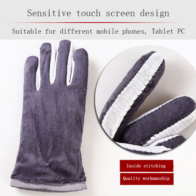 New Female Winter Outdoor Sports Warm Windproof Cartoon Bear Touch Screen Gloves Fashion Women Bow Tie Plush Gloves Mittens 17 2
