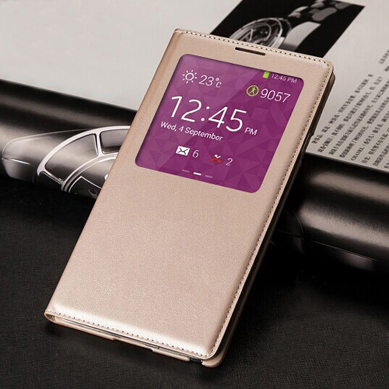 QTNED Smart View Auto Sleep Wake Up with Chip Leather Pouzdro Ochranný Flip Cover pro Samsung Galaxy Note 3 Note3 N9000 N9005