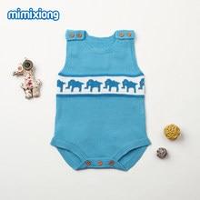 27de7e97bf5b Elephant Knit Toddler Infant Bodysuits Cute Sleeveless Newborn Baby Unisex  Onesie Summer Cartoon Style Child Jumpsuits Boys Girl