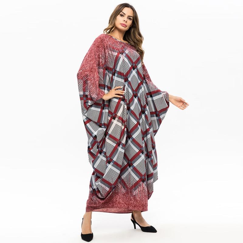 Over size Middle East Women Abaya Muslim dress Batwing Sleeve Kaftan Islamic arabic Turkish printed Loose Maxi dresses