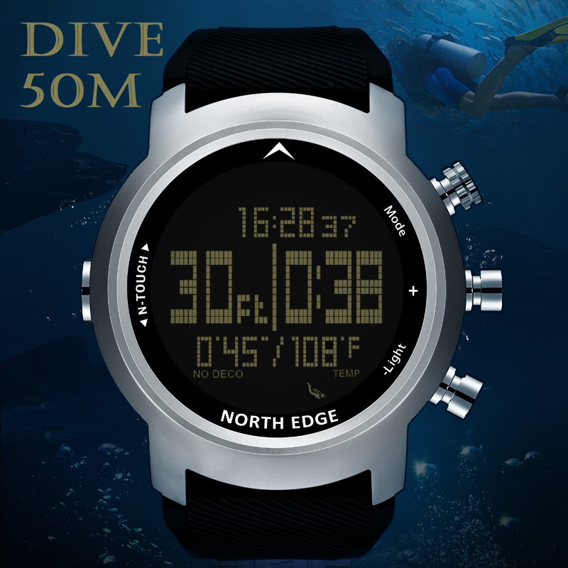 NORTH EDGE Men Sport Watch Altimeter Barometer Compass Thermometer Pedometer Calorie Depth Gauge Digital Watch Diving