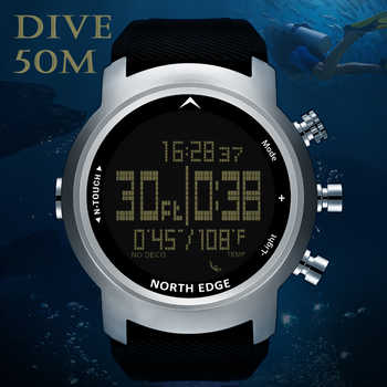 NORTH EDGE Men Sport Watch Altimeter Barometer Compass Thermometer Pedometer Calorie Depth Gauge Digital Watch Diving Climbing - DISCOUNT ITEM  50% OFF All Category