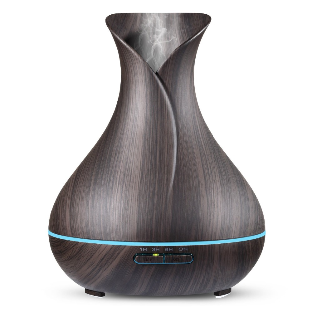 Aroma Essential Oil Diffuser Ultrasonic Air Humidifier Aromatherapy 400mL Cool Mist Maker Diffuser Wood Grain 7 Color LED Lights bm 03k 100 240v home ultrasonic essential oil aroma wood diffuser aromatherapy water humidifier mist maker 20 30ml h