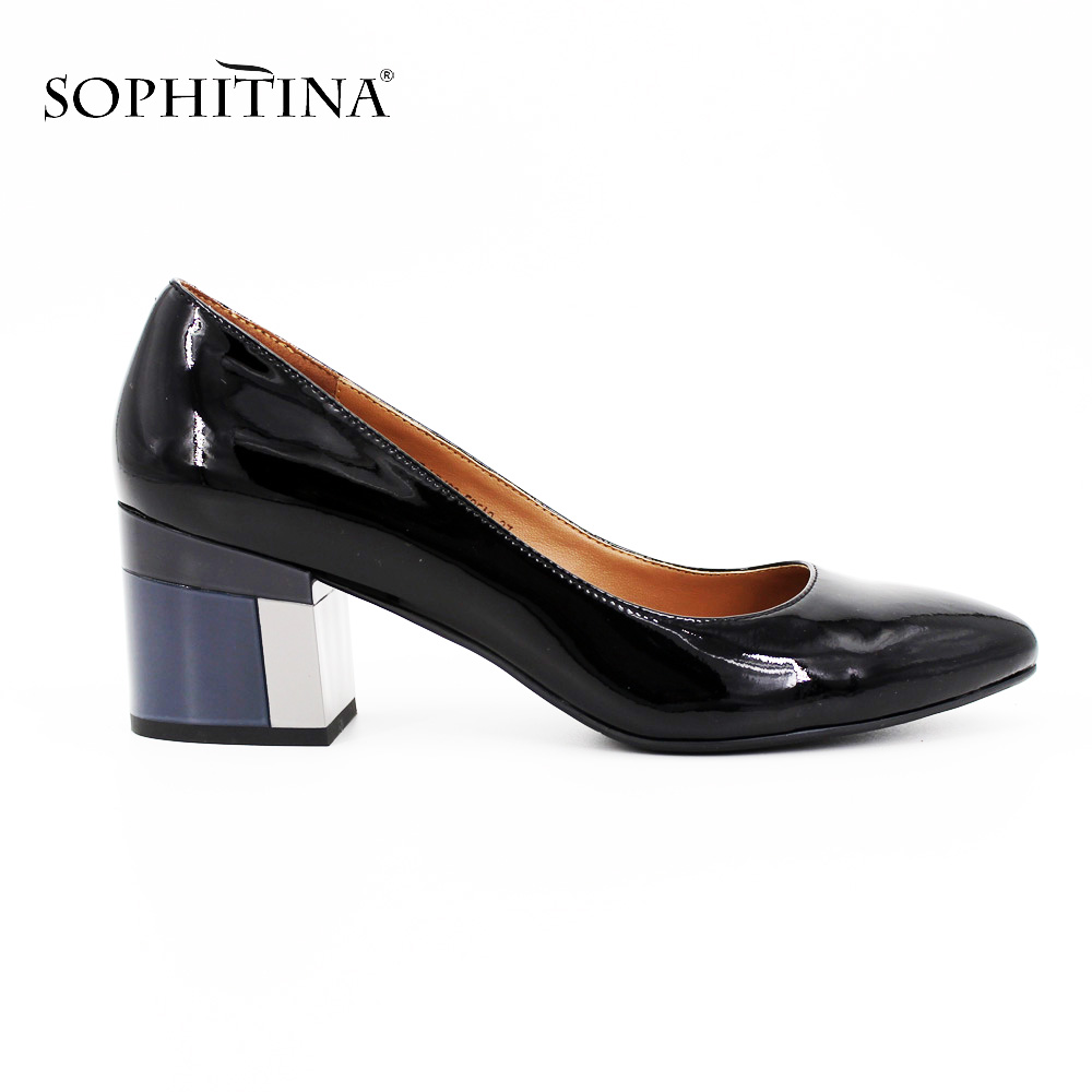 SOPHITINA Brand Thick heel Patent Leather Pointed Toe Ladies Pumps Colorful heels Party Wine Red Black Handmade Shoes Women D013