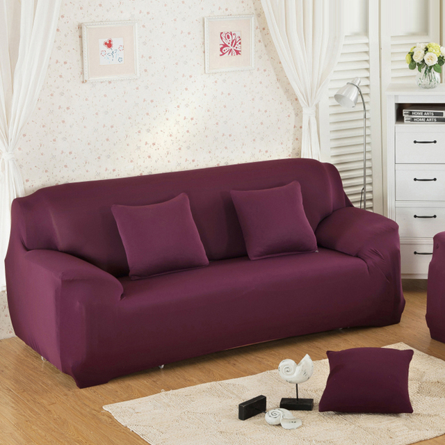 US $16.46 20% OFF Qi Jie new 18 color sofa cover large elastic 100%  polyester spandex stretch sofa cover Aisha sofa towel furniture cover  machine -in ...