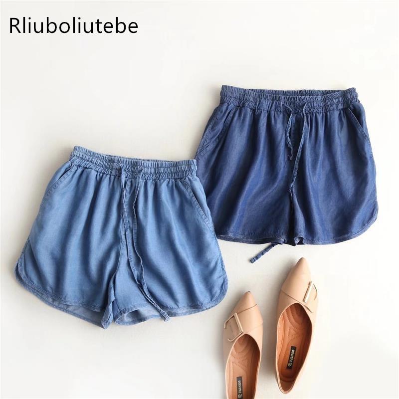 summer tecel denim women   shorts   sexy casual hot   shorts   elastic waist lace up drawstring pocket blue light blue loose beach