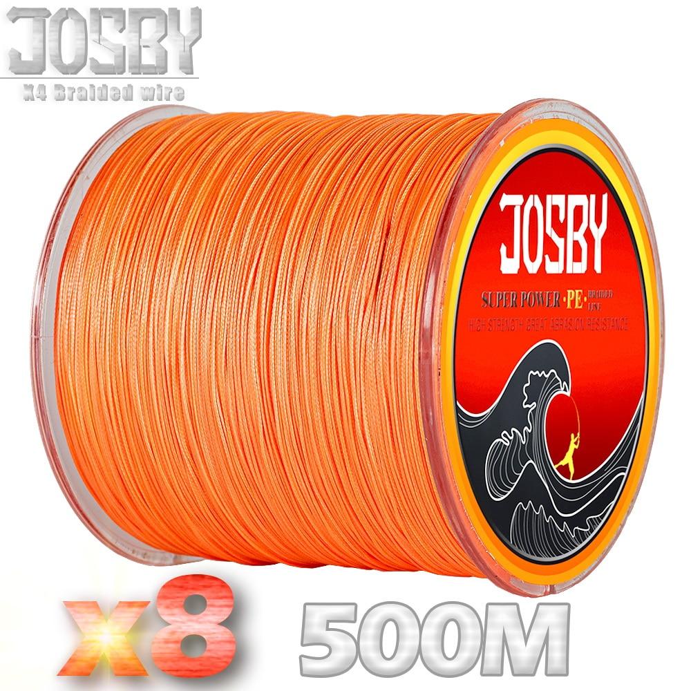JOSBY 8 Strand Super Strong PE Multifilament Fishing Line 500M Braided Fishing Line 8 Braid Weaves Rope 12LBS 78LBS 2018 New